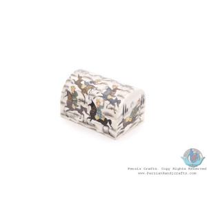 Chogan Miniature Round Trunk Shape Jewelry Box - HM3923-Persian Handicrafts