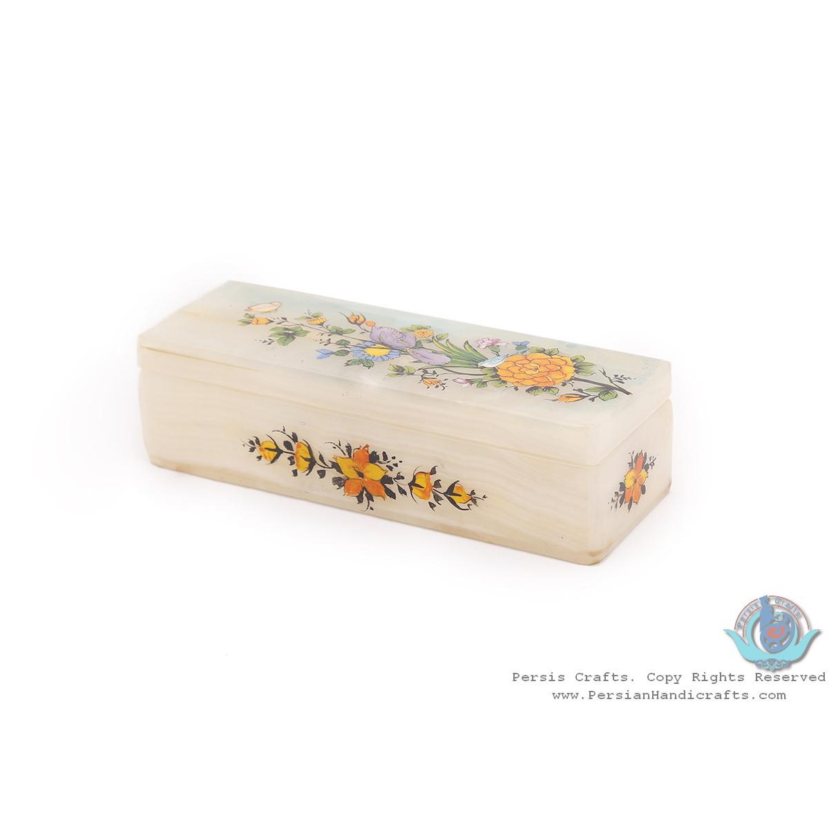 Flower & Bird Minature on Marble Stone Jewelry Box - HM3928-Persian Handicrafts
