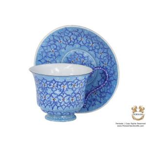 Tea Cup & Saucer Set - Enamel Minakari   PE4104-Persian Handicrafts