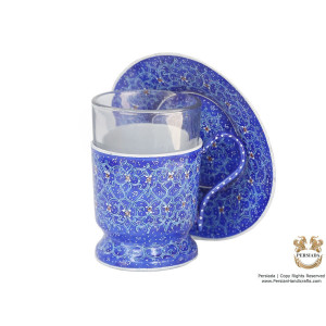 Tea Cup & Saucer Set - Enamel Minakari | PE4107-Persian Handicrafts