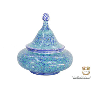 Sugar Candy Pot - Enamel Minakari | PE4108-Persian Handicrafts