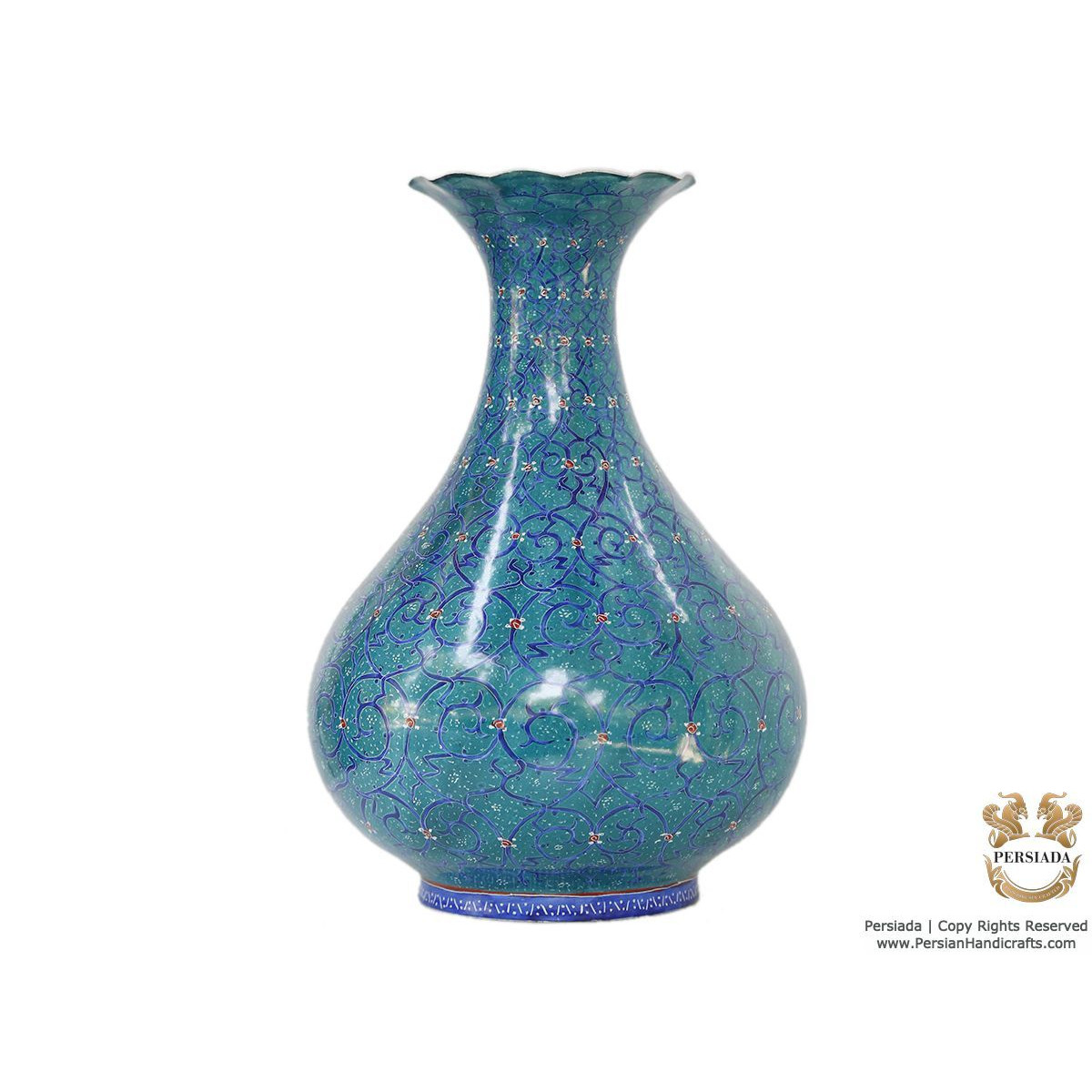Decorative Flower Vase - Enamel Minakari | PE4115-Persian Handicrafts