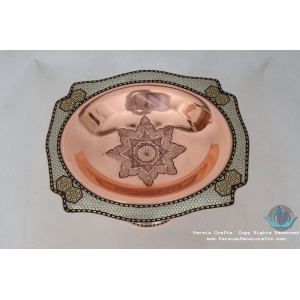 Khatam Marquetry on Copper Pedestal Cookie Platter- PKH1003-Persian Handicrafts