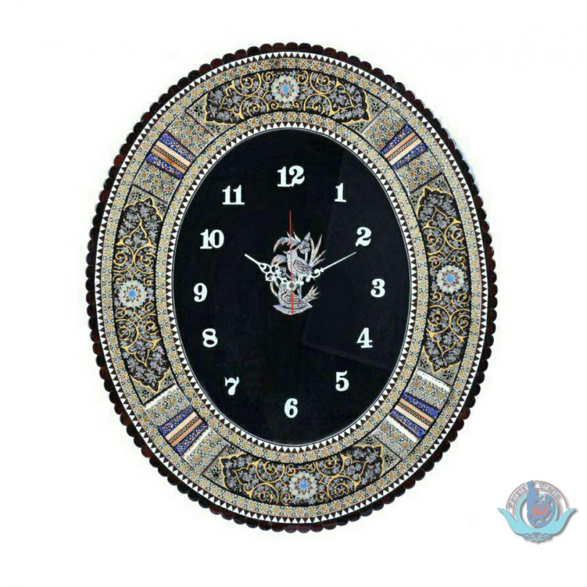 Khatam Marquetry Wall Clock - PKH1029-Persian Handicrafts