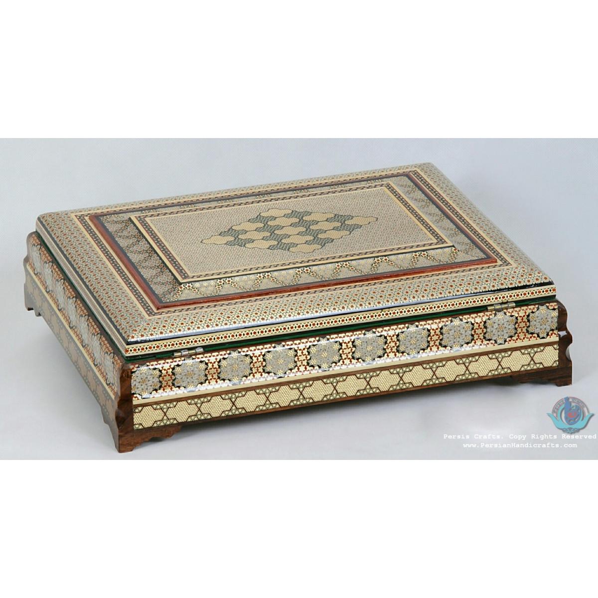 Premium Flat Shape Khatam Marquetry Jewelry Box - PKH1069-Persian Handicrafts