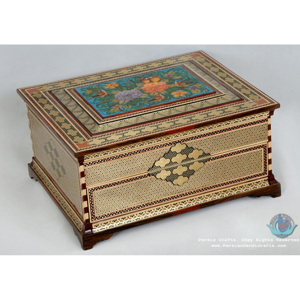 Premium Ark/Pyx Shape Khatam Marquetry Jewelry Box - PKH1061-Persian Handicrafts