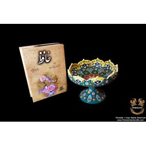 Pedestal Platter Persian Enamel on Pottery | HPM532-Persian Handicrafts