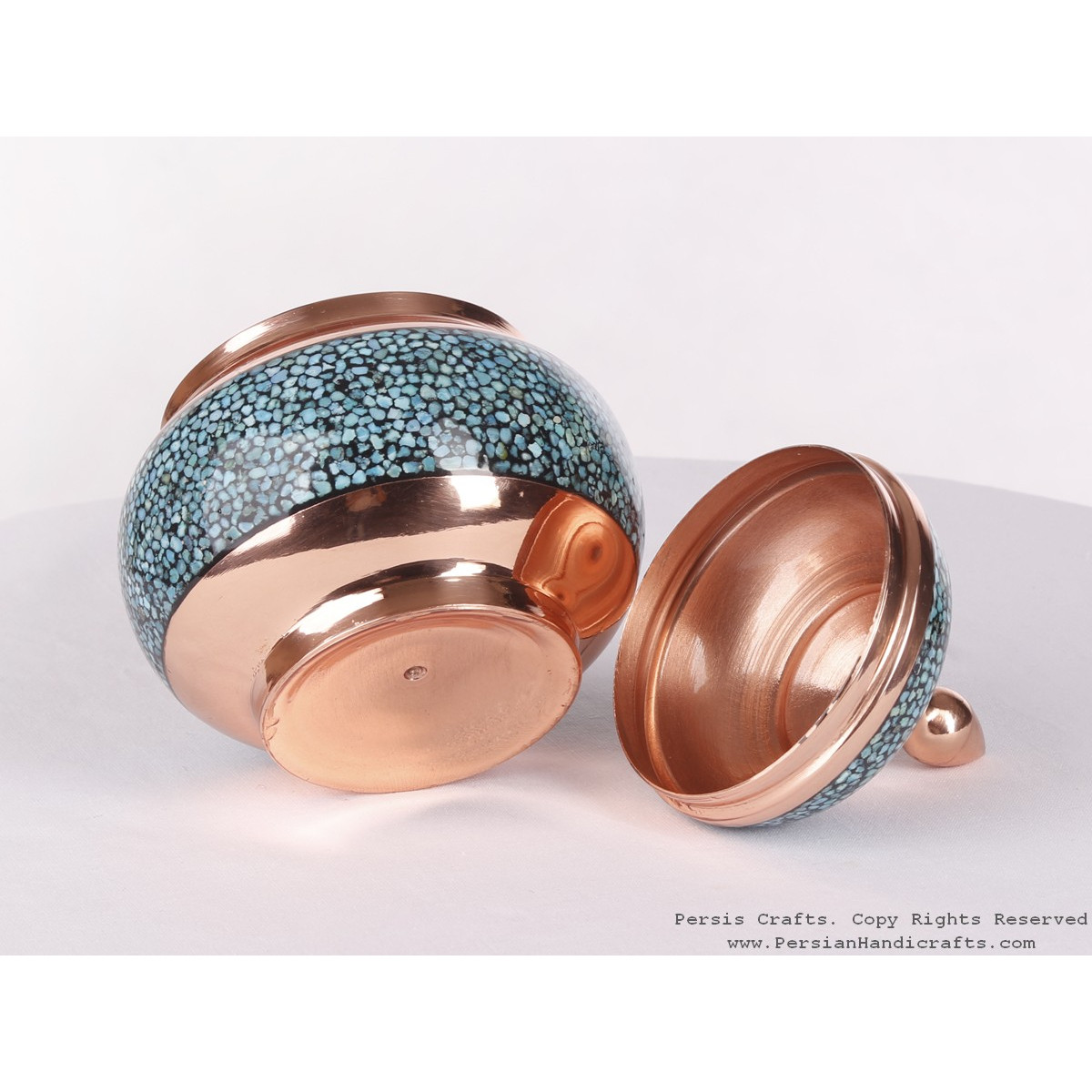 Turquoise Inlaying (FiroozehKoobi) Sugar/Candy Pot - HTI3001-Persian Handicrafts