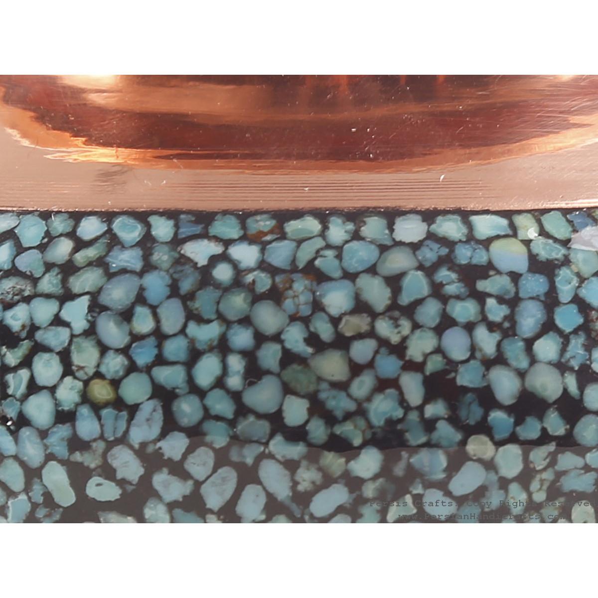 Turquoise Inlaying (FiroozehKoobi) Sugar/Candy Pot - HTI3002-Persian Handicrafts