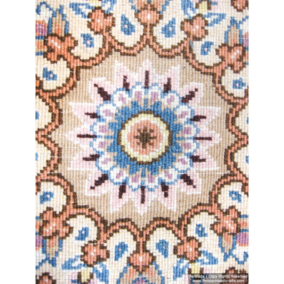 Medallion Design Wool & Cotton Naein Persian Rug  -  RN5004-Persian Handicrafts