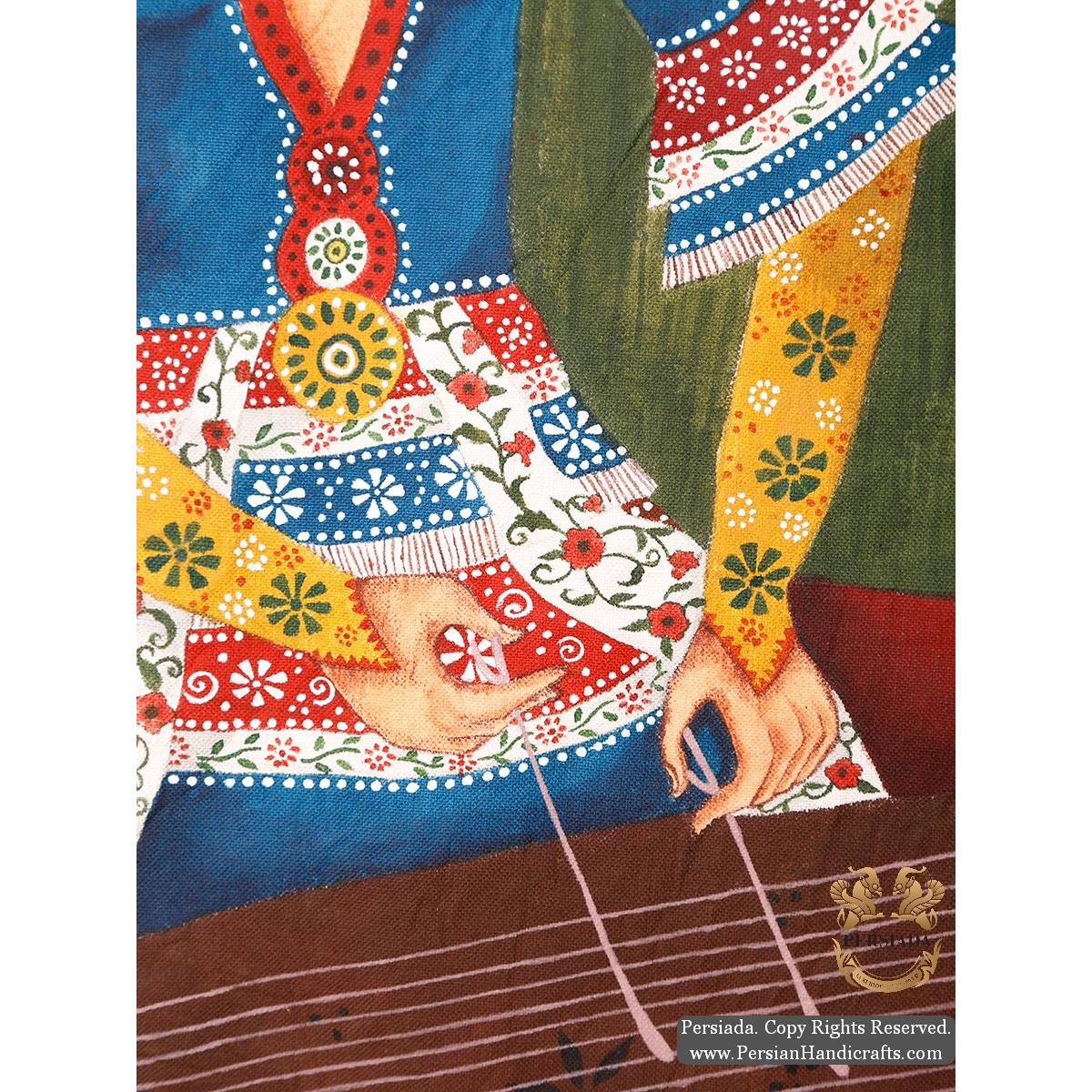 Qajar Woman Portrait | Hand Painted Ghalamkar Fabric | PHGH502-Persian Handicrafts
