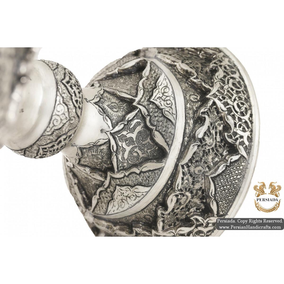 Luxurious Pedestal Dish   Multi Dimensional Handgraved Ghalamzani   PHGL504-Persian Handicrafts